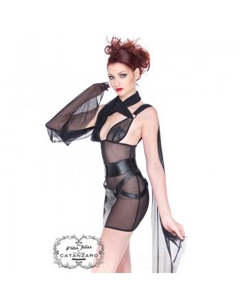 Nerys fishnet wetlook Dress