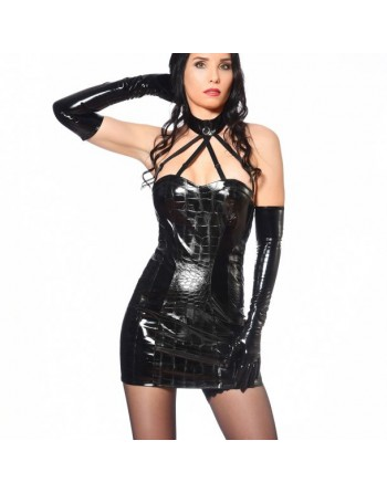 Vika Black Crackle Vinyl Dress