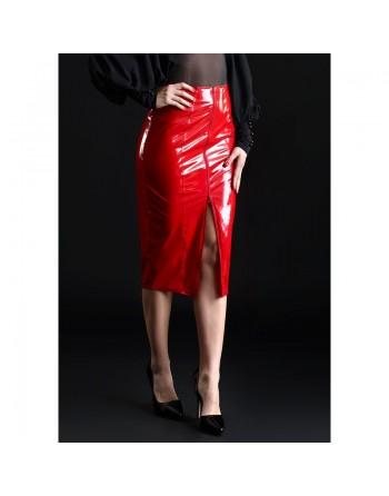 Ornella Red Vinyl Skirt