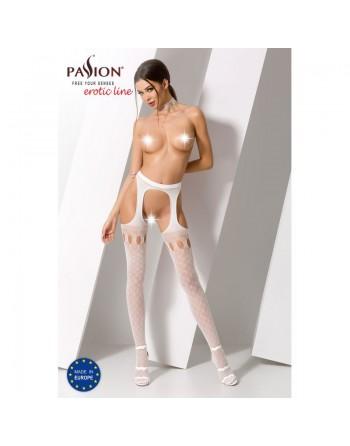 S024W Garter Stocking - White