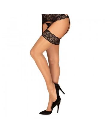 Joylace Stockings - Black and Nude