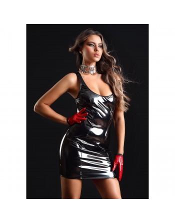 Emmanuelle Black vinyl dress