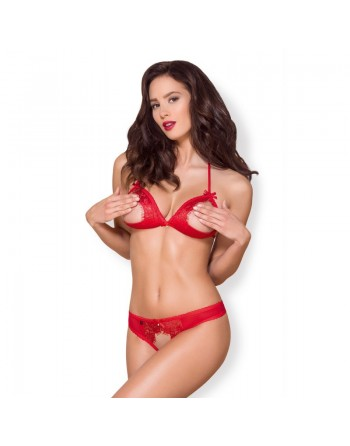 870-SEC-3 2 pcs crotchless set - Red