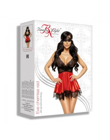 Eve chemise with mask - Red