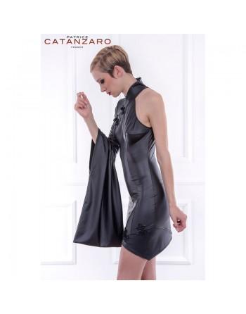 Xi An black wetlook dress