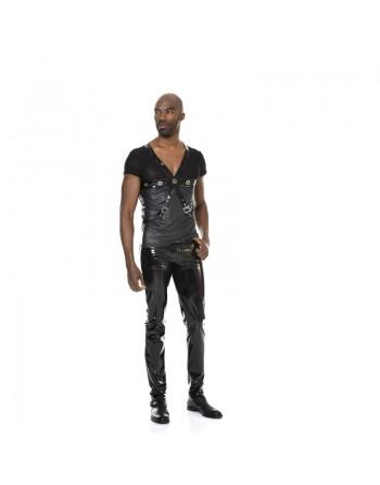 Shawn Vinyl black trousers